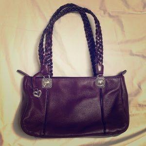 Maroon Brighton Vintage Leather Shoulder Bag
